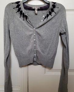 American Rag Grey/Argyle Sequin Cardigan